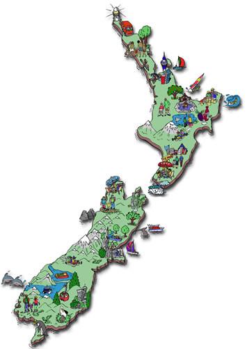 Carte activité en Nouvelle-Zélande