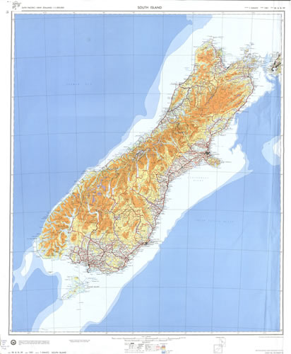 Carte relief sud NZ