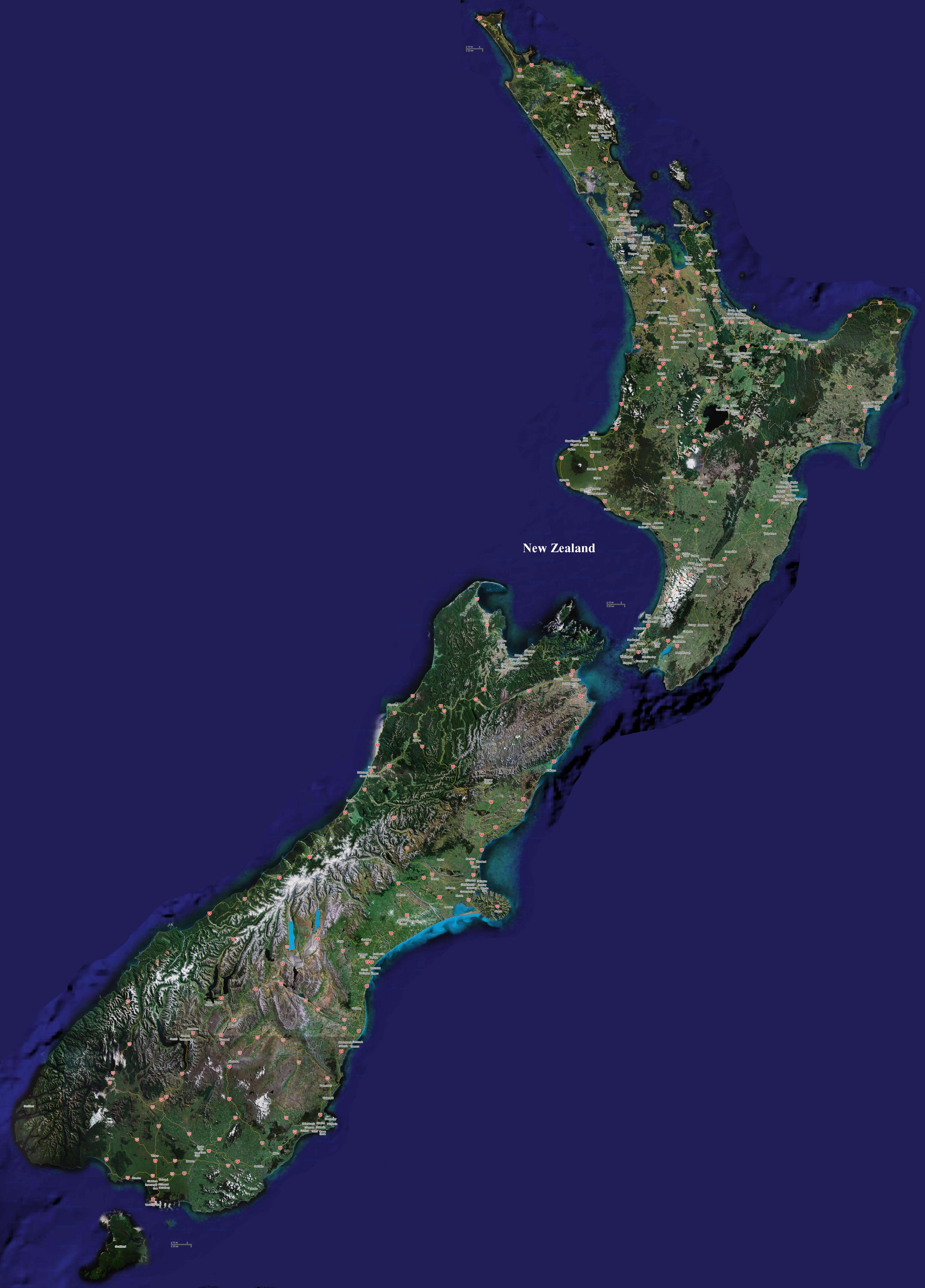Carte Google Earth de la Nouvelle-Zélande