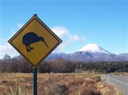 Photo du panneau au kiwi devant le Ngauruhoe